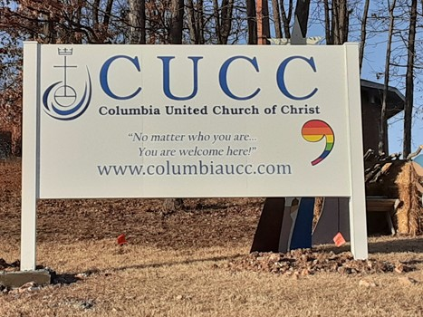 Exterior sign for Columbia United Church of Christ
